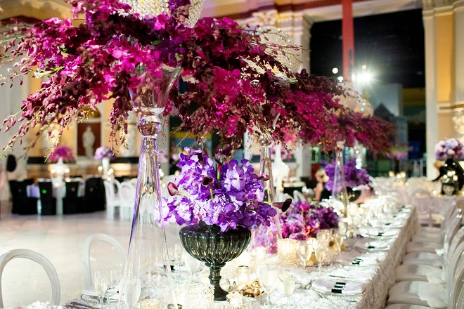 purple orchids wedding flowers luxury event design brian kappra