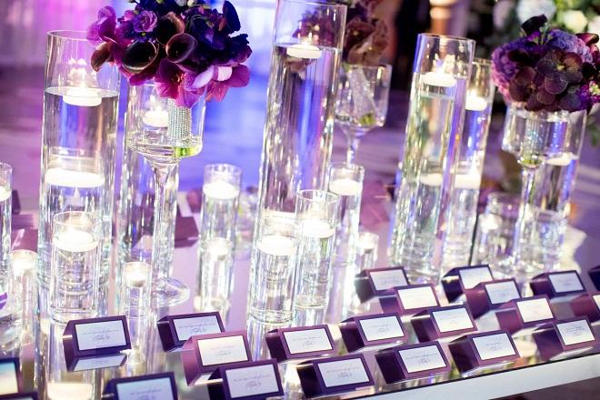 purple placecards wedding decor evantine design