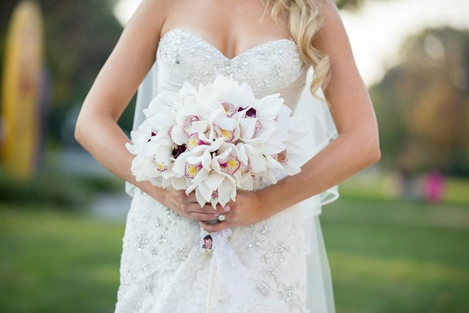 white cymbidium orchid bridal bouquets