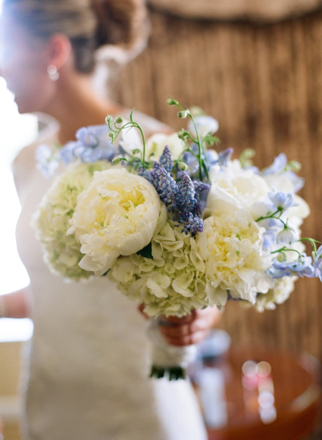 blue and white bridal bouquet white peonies muscari delphinium evantine design