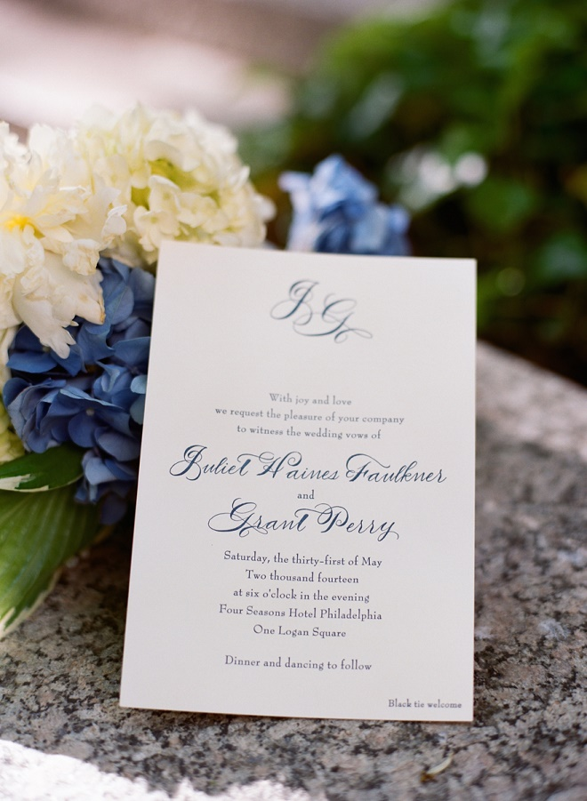 blue and white wedding invitations black tie welcome luxury weddings philadelphia evantine design