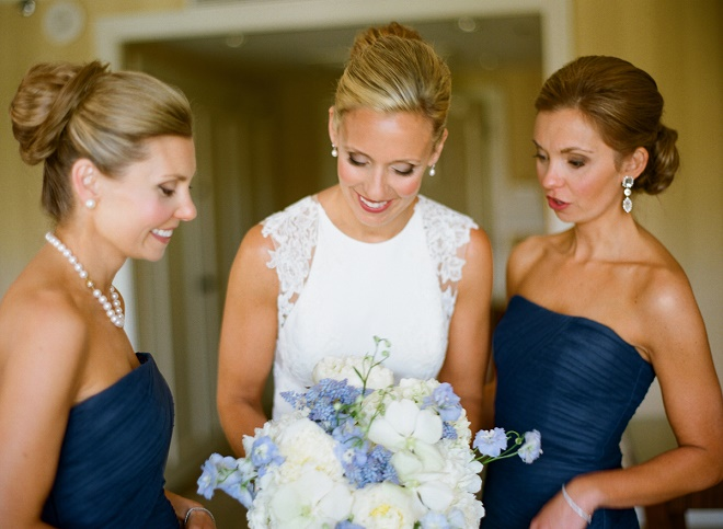 blue bridesmaids dresses blue and white bouquet evantine design weddings liz banfield