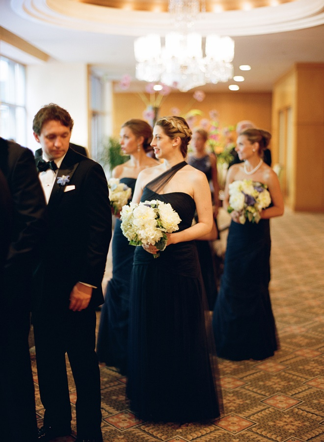 bridal party candid photographs philly weddings blue dresses white bouquets evantine design liz banfield