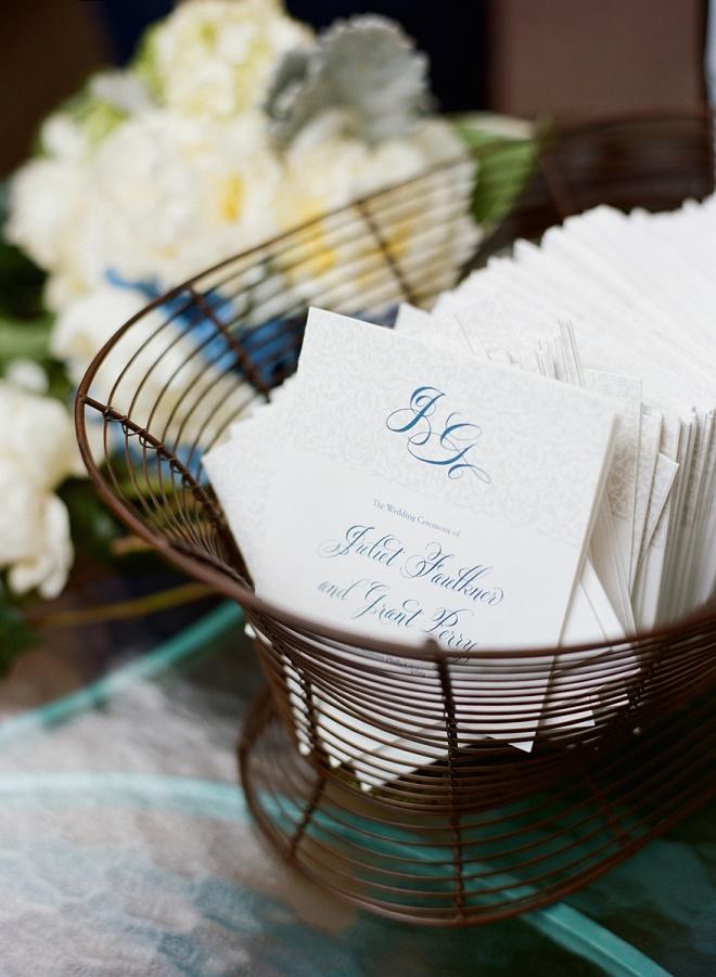 ceremony programs garden weddings blue and white event decor evantine design liz banfield