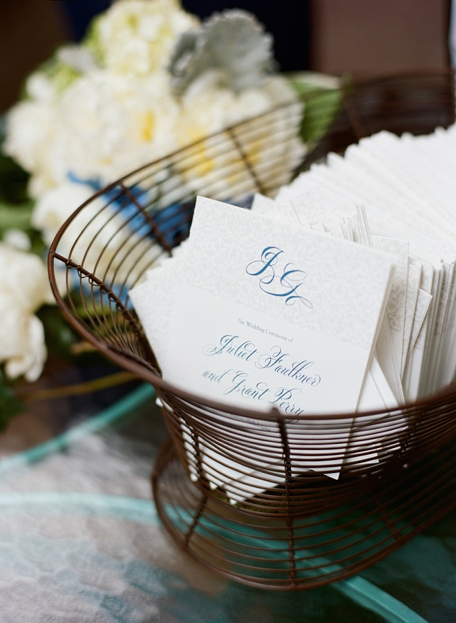 ceremony programs garden weddings blue and white event decor evantine design liz banfield