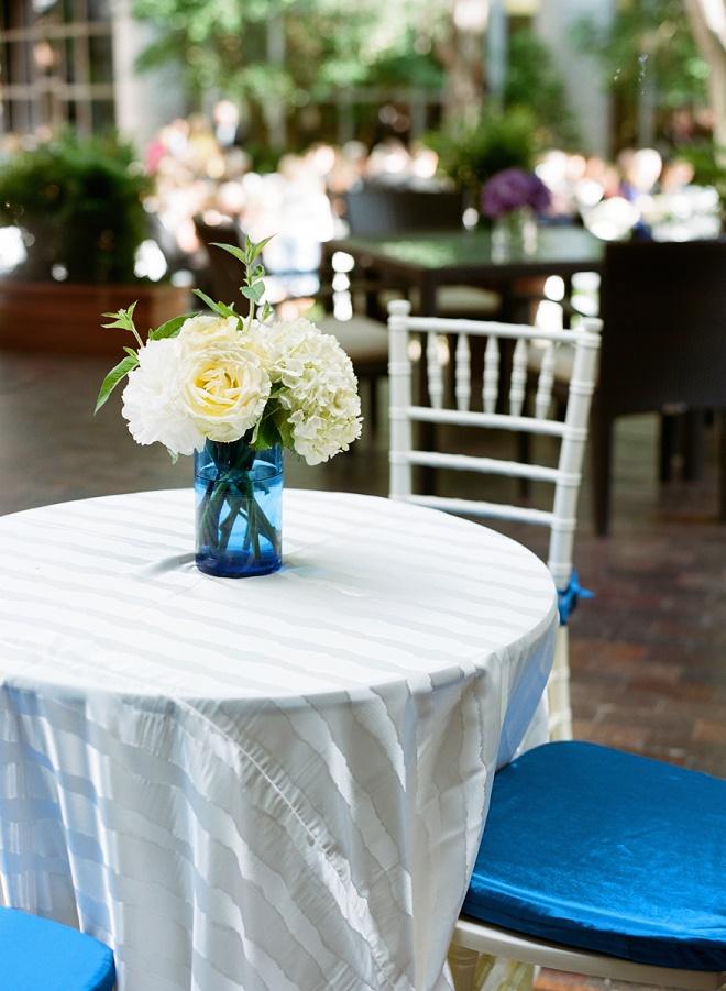 cocktail table arrangements blue and white weddings evantine design spring weddings liz banfield