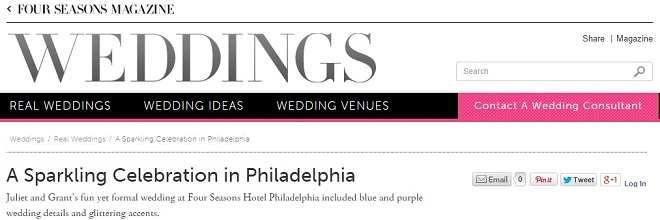 Four Seasons Magazine Philadelphia Wedding Evantine Design