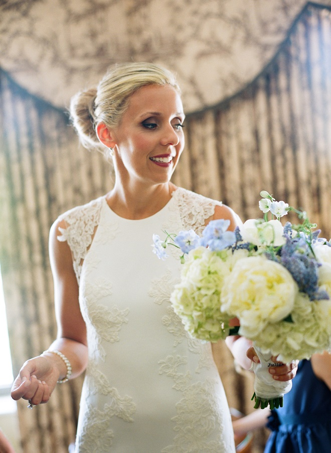 lace wedding gowns blue and white bridal bouquets evantine design philly weddings liz banfield photography