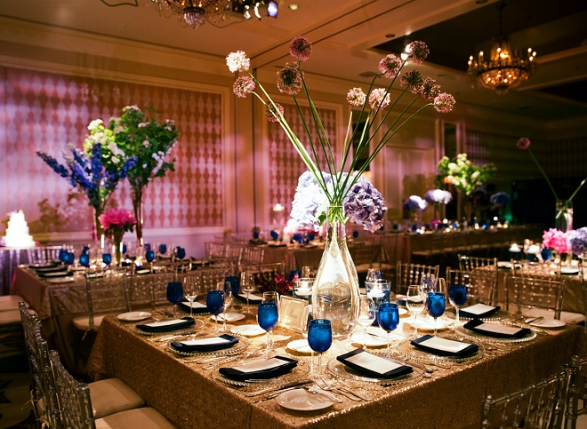 modern ballroom wedding decor blue and purple flowers evantine design philly weddings