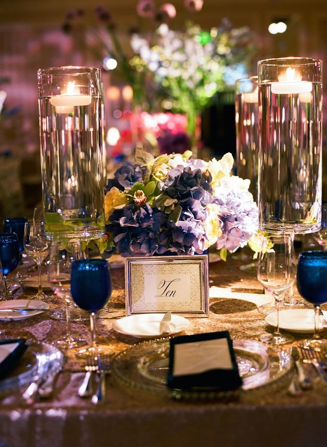 modern blue and purple wedding centerpieces luxury weddings philadelphia evantine design liz banfield