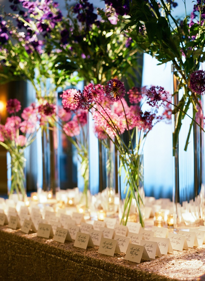 purple and blue wedding flowers place card tables evantine design philly florists liz banfield