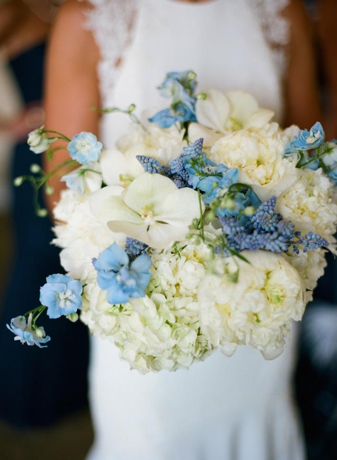 white peony bridal bouquets with blue hydrangea blue muscari evantine design liz banfield