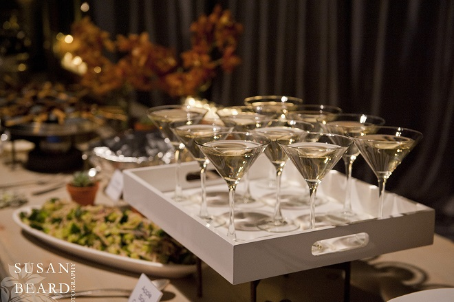 Martinis were available on the food bars for fast service. Evantine Design.