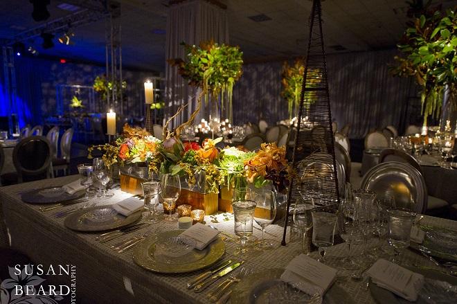 orange protea centerpieces wooden vases bar mitzvah decor evantine design