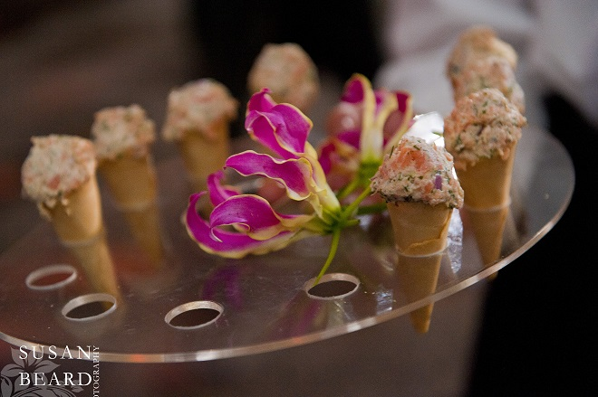 Smoked Salmon Cones served to Adults during Cocktails. Evantine Design.
