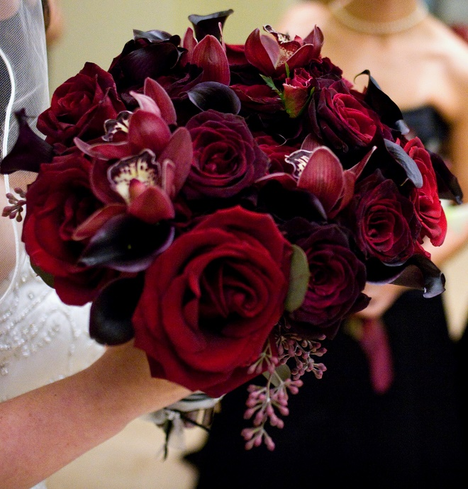 Marsala? Or just fabulous, festive RED? Bridal Bouquet by Evantine Design; Photo by Cliff Mautner