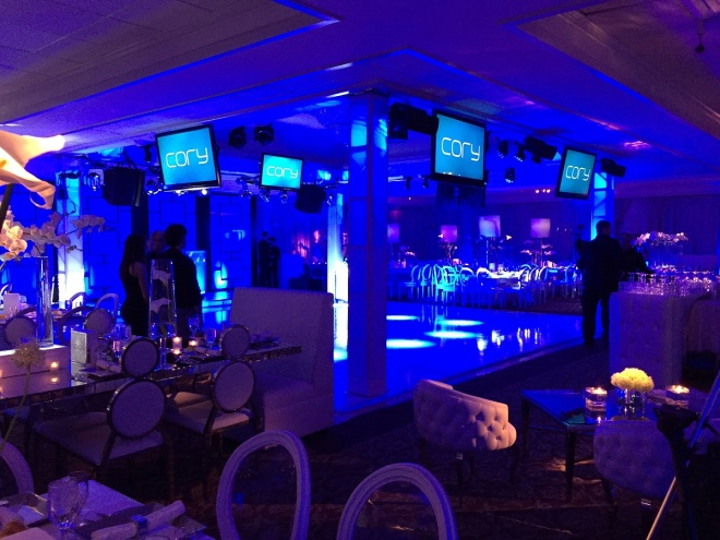cory feller bar mitzvah blue lighting evantine design philly mitzvahs 11