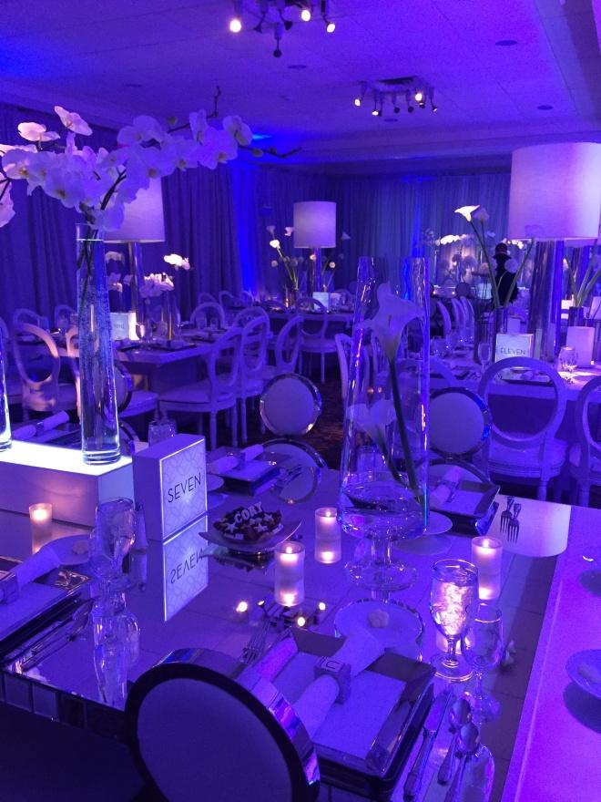 mirror dinner tables white lamp centerpieces chrome vases evantine design cory mitzvah 11 philly mitzvahs
