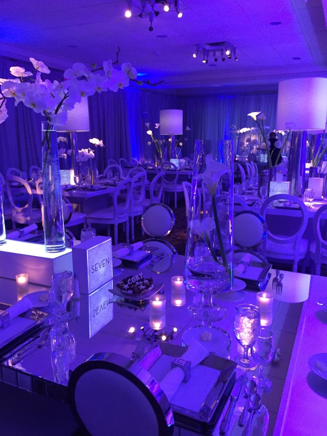 mirror dinner tables white lamp centerpieces chrome vases evantine design cory mitzvah 11 philly mitzvahs