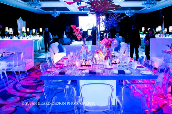 blue and white modern party design for bar mitzvahs evantine design susan beard design