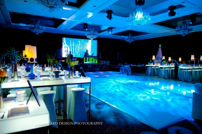 large white dance floors philly mitzvahs blue lighting digital screens for mitzvahs evantine design