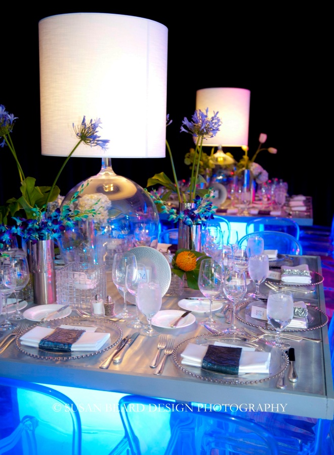 light up tables with clear chairs for parties white lamps evantine design susan beard