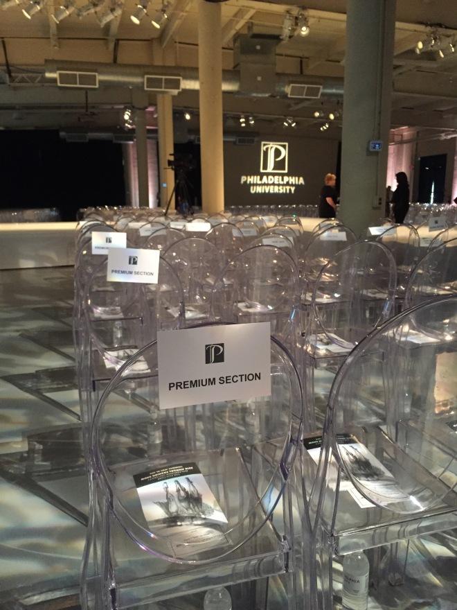 Lucite Chairs Philadelphia University Fashion Show Evantine Design