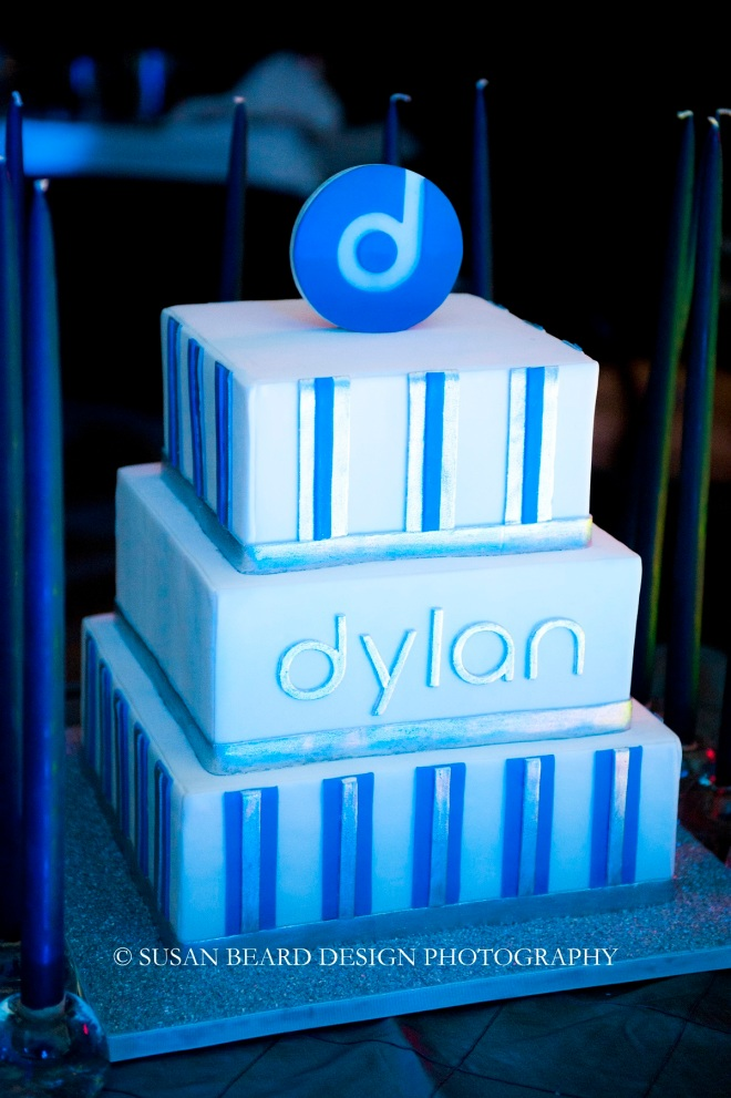 modern white and blue bar mitzvah cakes four seasons hotel evantine design
