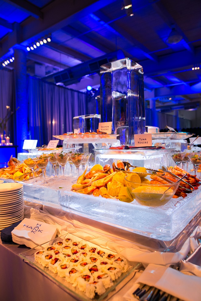 modern white lounge mitzvah with raw wood blue lighting evantine designn moulin loft space philadelphia 5
