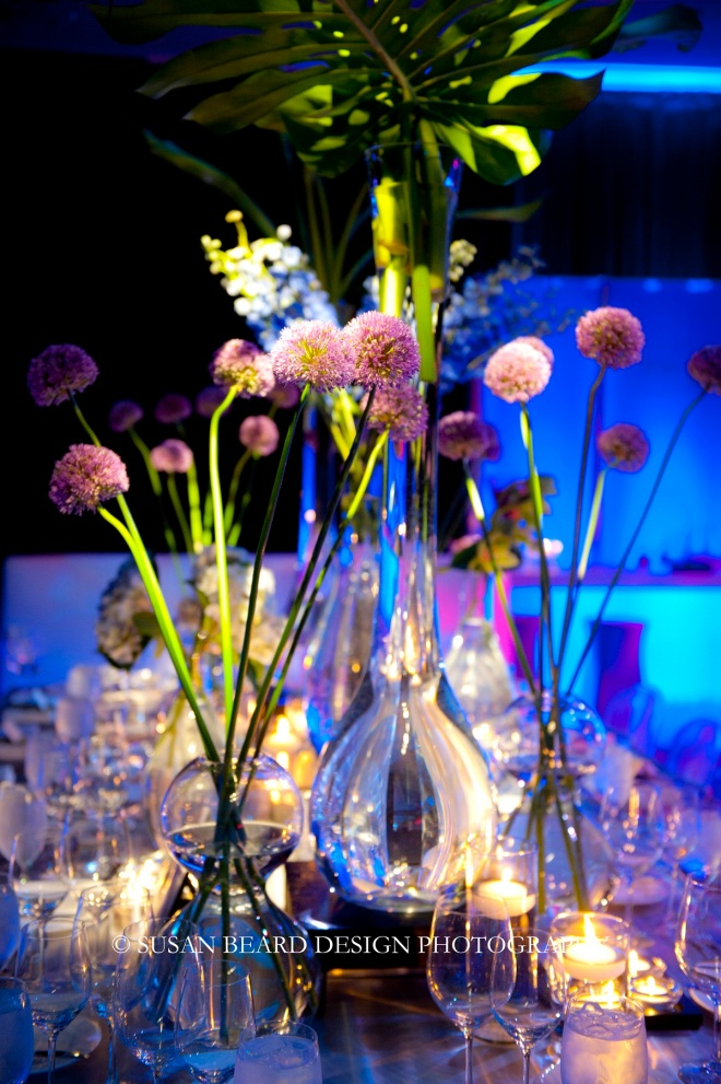 purple and blue flowers for boy party centerpieces metal vases modern white dance floors evantine design
