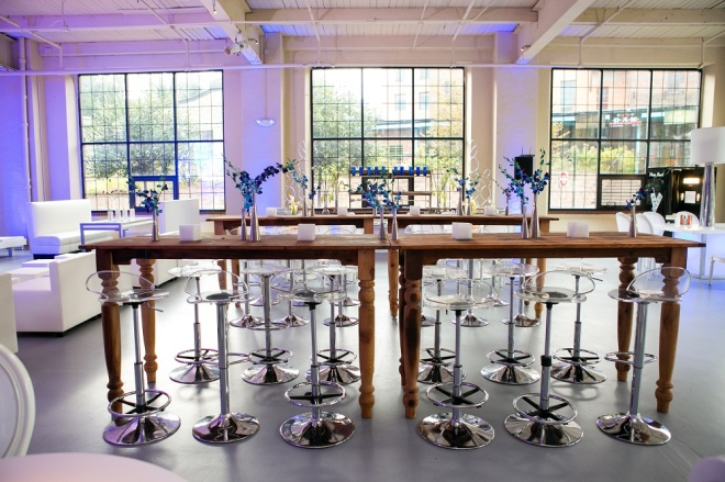 Wood Tables Blue Orchids Loft Venues Philadelphia Mitzvahs Evantine Design Moulin Sherman Mills 2