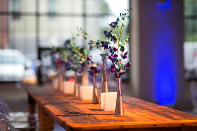 Wood Tables Blue Orchids Loft Venues Philadelphia Mitzvahs Evantine Design Moulin Sherman Mills