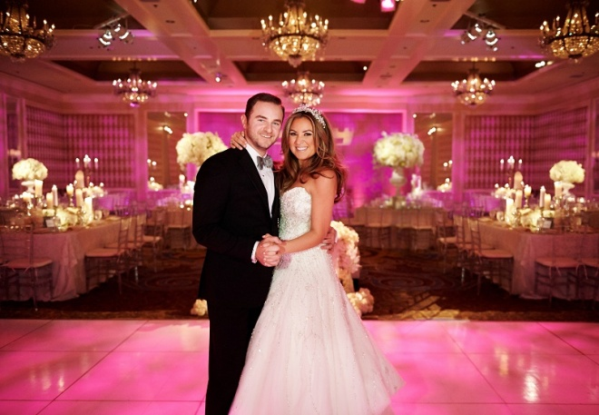 Glamorous Weddings Pink Lighting Philly Weddings Four Seasons Hotel Evantine Design Event Designers Wedding Planners Philadelphia Philip Gabriel Photography