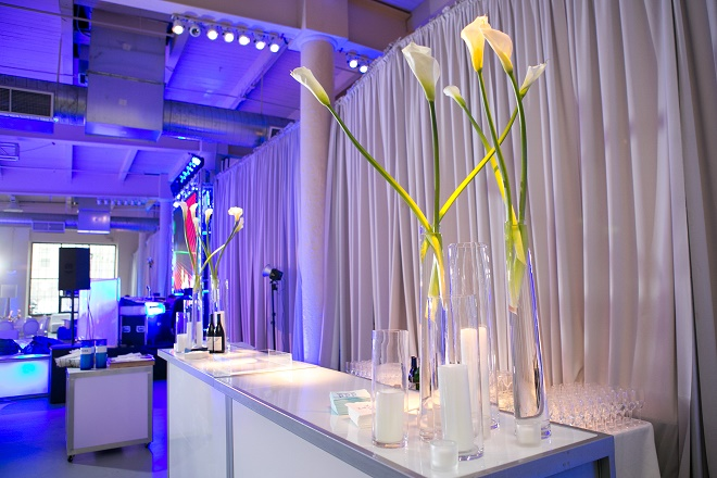 modern white lounge mitzvah with raw wood blue lighting evantine designn moulin loft space philadelphia 1