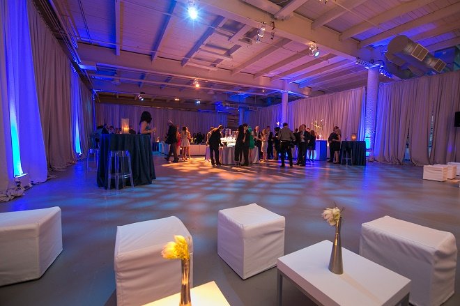 modern white lounge mitzvah with raw wood blue lighting evantine designn moulin loft space philadelphia 10