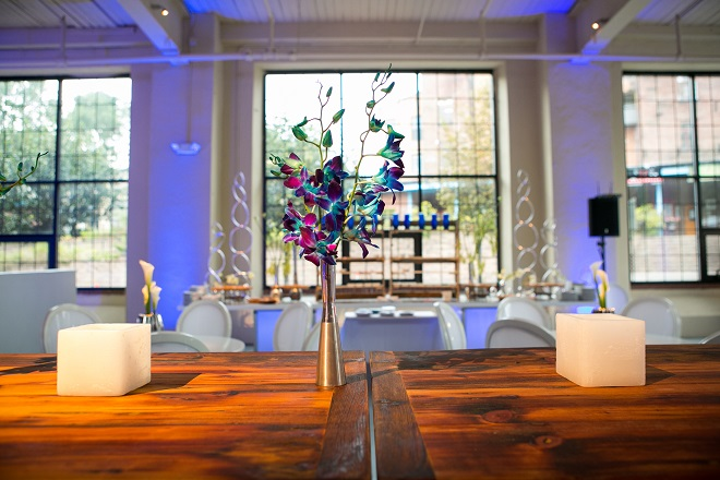 modern white lounge mitzvah with raw wood blue lighting evantine designn moulin loft space philadelphia 16 blue orchids