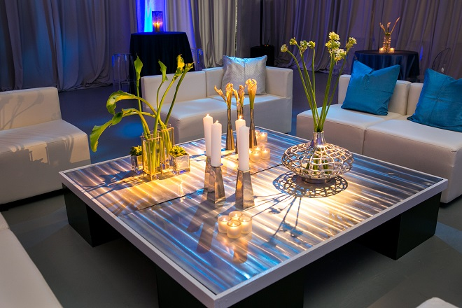 modern white lounge mitzvah with raw wood blue lighting evantine designn moulin loft space philadelphia 20