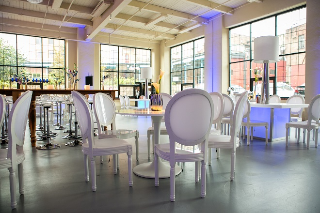 modern white lounge mitzvah with raw wood blue lighting evantine designn moulin loft space philadelphia 29