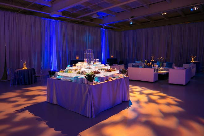 modern white lounge mitzvah with raw wood blue lighting evantine designn moulin loft space philadelphia 3