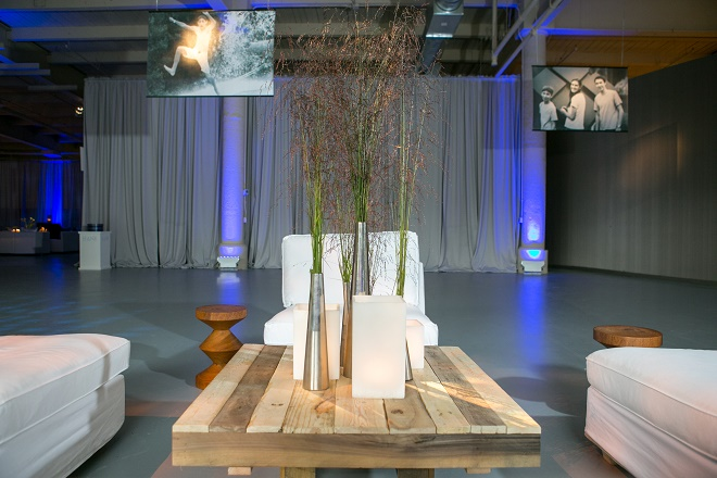 modern white lounge mitzvah with raw wood blue lighting evantine designn moulin loft space philadelphia 32