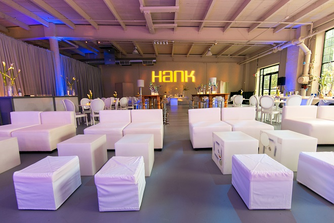 modern white lounge mitzvah with raw wood blue lighting evantine designn moulin loft space philadelphia 40