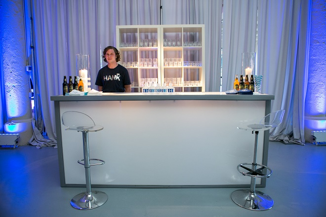 modern white lounge mitzvah with raw wood blue lighting evantine designn moulin loft space philadelphia 46