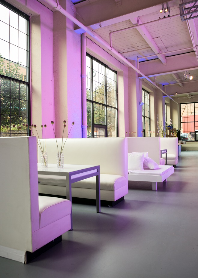 modern white lounge mitzvah with raw wood blue lighting evantine designn moulin loft space philadelphia