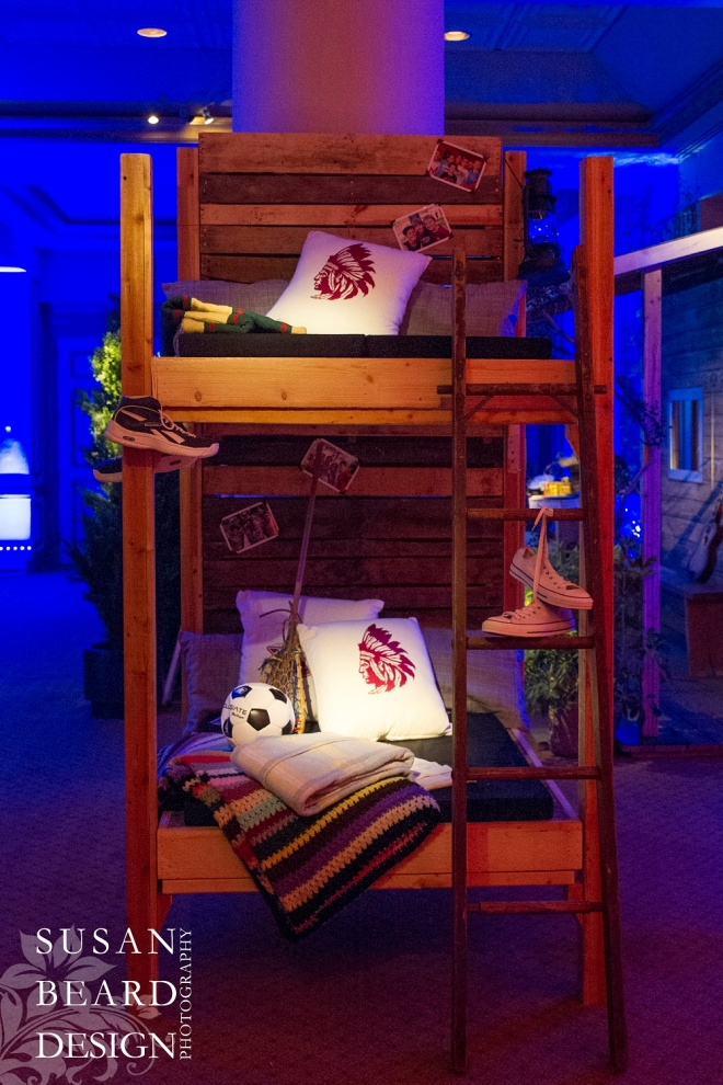 bunk beds summer camp themed kids party bar mitzvahs philadelphia party planners evantine design