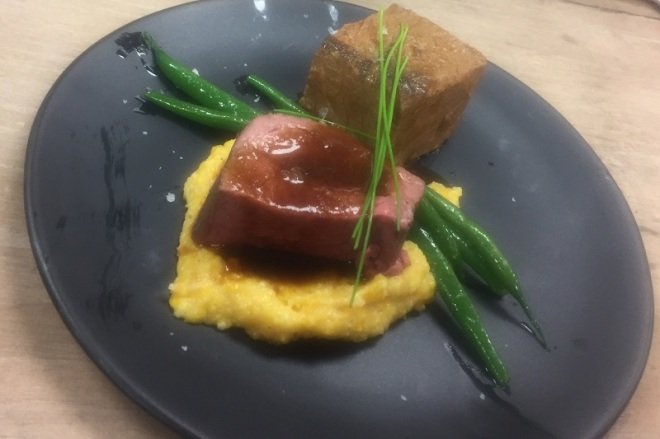 Herb roasted beef tenderloin with butternut squash polenta, bordelaise sauce... ahhh-mazing...