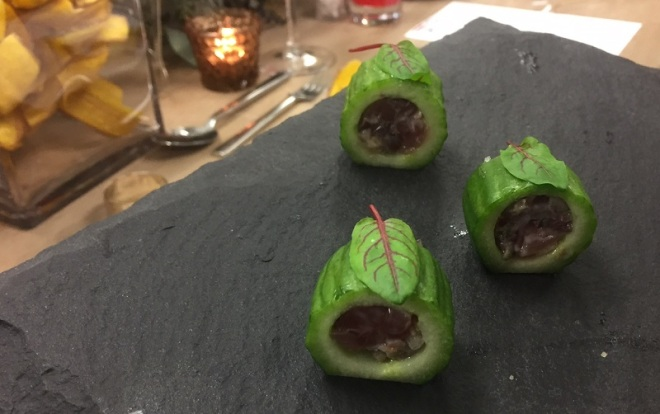 Persian Cucumber with Yellowfin Tuna, black olive, caperberry...