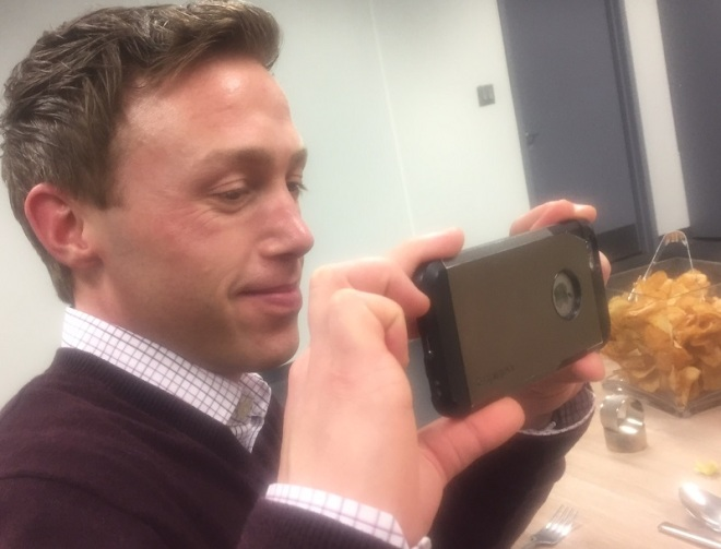 Event Planner Robert Canada, who has dropped his phone one too many times, helps document the tasting...